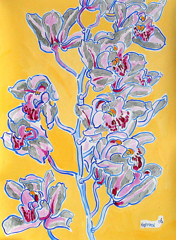 Orchid Poster featuring the painting Pink Orchid by Vitali Komarov