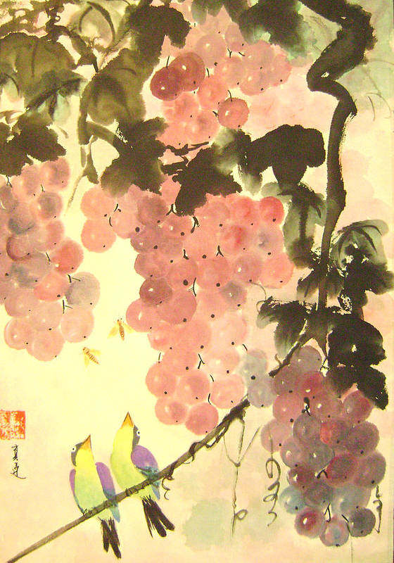 Water Colour Poster featuring the painting Pink Romance by Lian Zhen