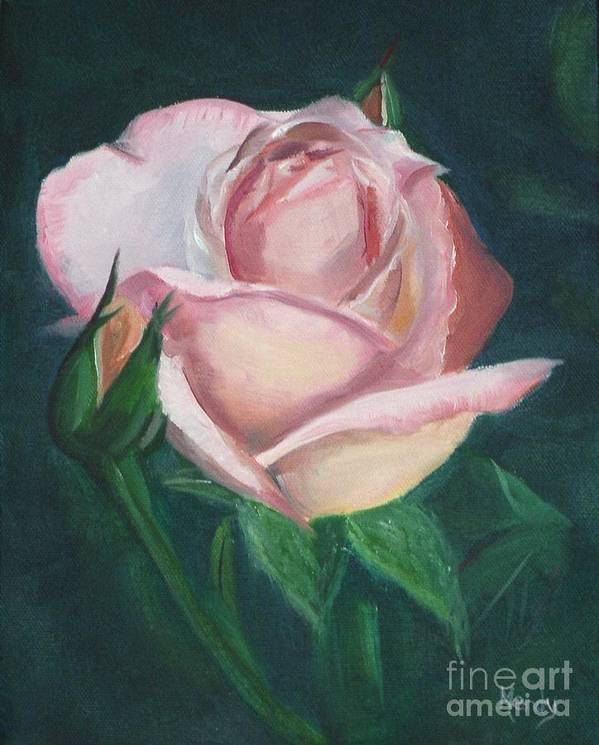 Rose Poster featuring the painting Pink Rose by Mendy Pedersen