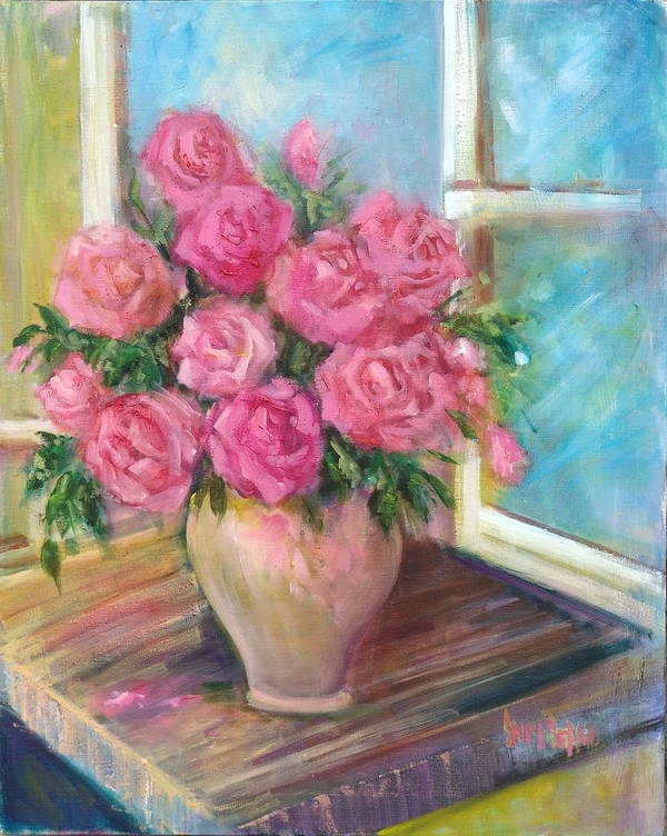 Flowers Poster featuring the painting Pink Roses by Sally Seago