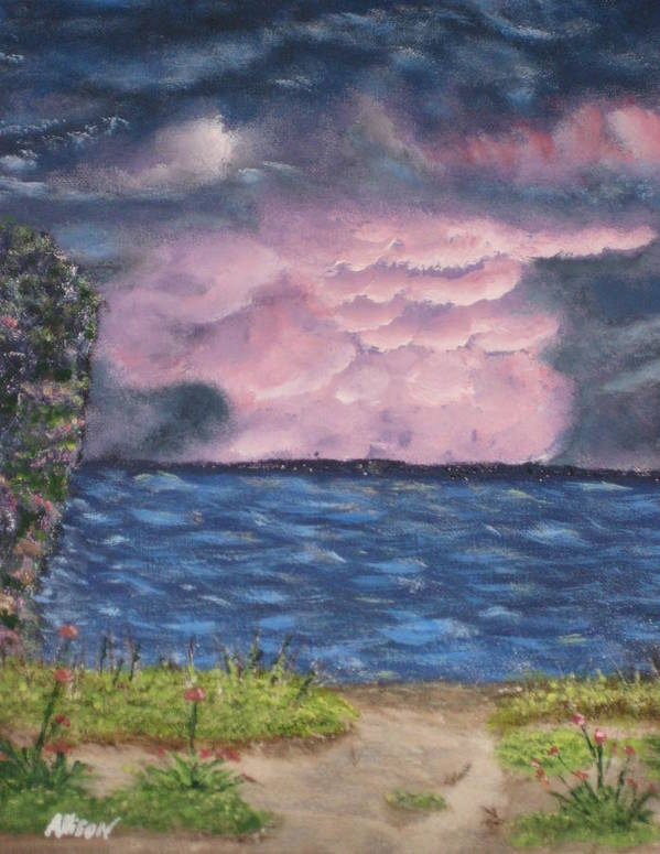 Sky Poster featuring the painting Pink Sky by Allison Prior