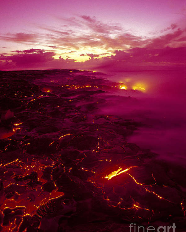 2003va Earlier Poster featuring the photograph Pink Volcano Sunrise by Ron Dahlquist - Printscapes