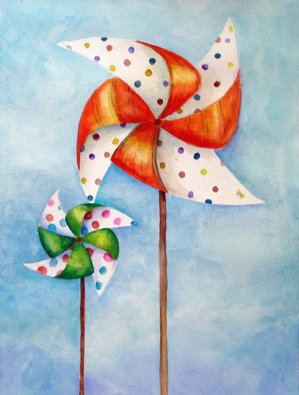 Wind Poster featuring the painting Pinwheels by Dorothy Nalls