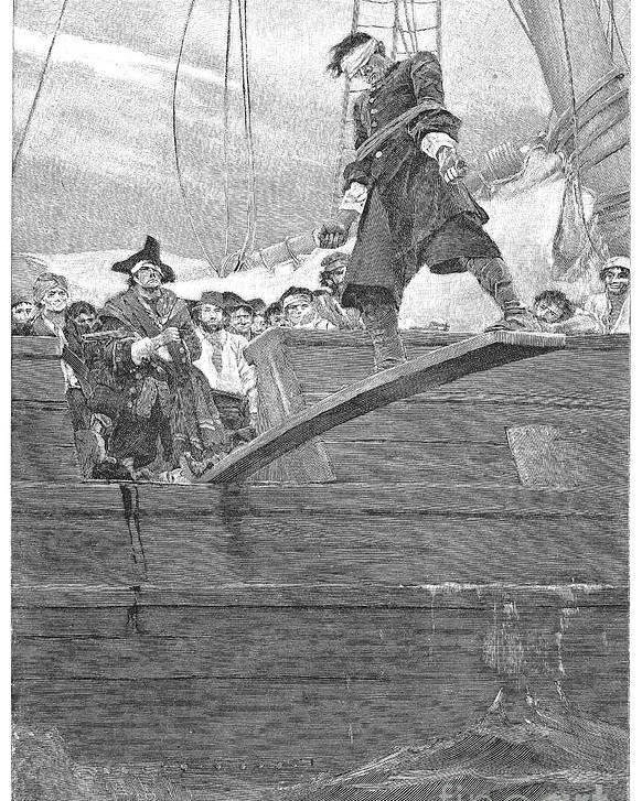 1887 Poster featuring the photograph Pirates: Walking The Plank by Granger