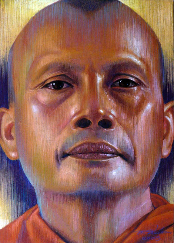 Monk Poster featuring the painting Pisal Dhama Phatee by Chonkhet Phanwichien