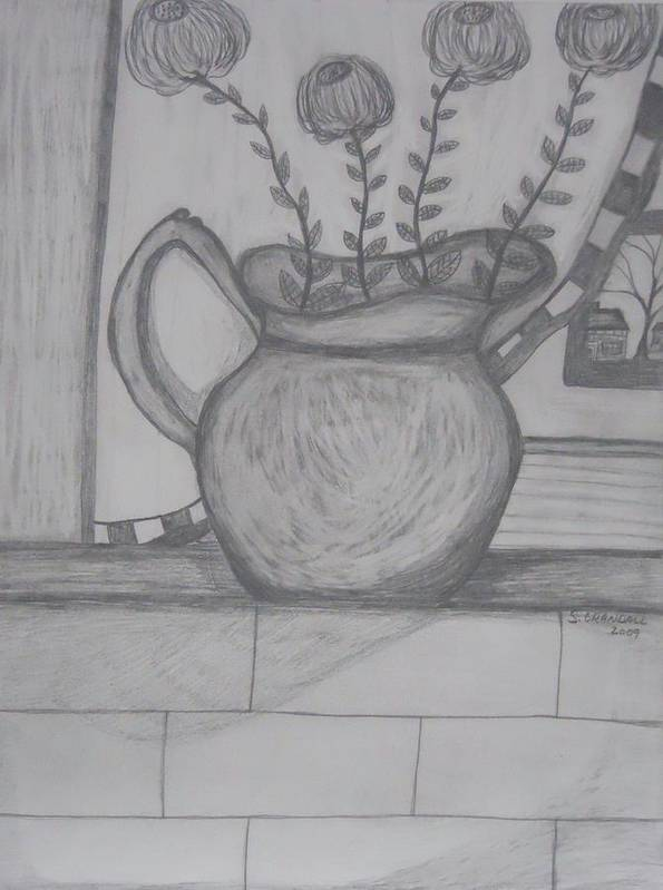 Flowers Poster featuring the drawing Pitcher With Flowers by Shannon Crandall