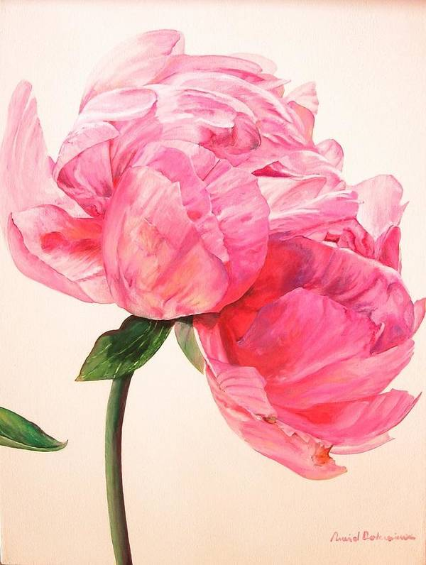 Floral Painting Poster featuring the painting Pivoine 3 by Muriel Dolemieux