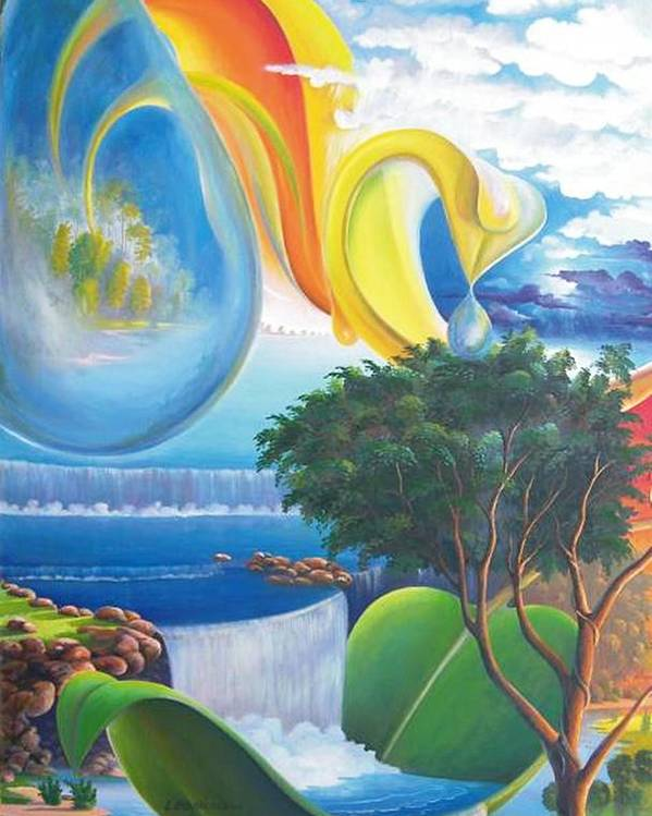 Surrealism - Landscape Poster featuring the painting Planet Water - Leomariano by Leomariano artist BRASIL