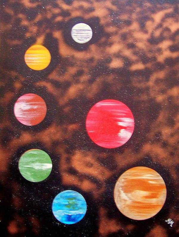 Planets.solar System Poster featuring the painting Planets At Night by Martha Mullins
