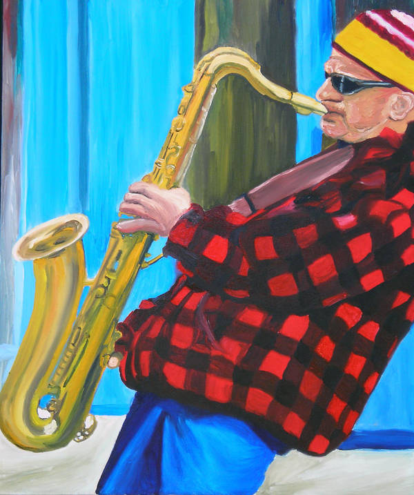 Sax Player Poster featuring the painting Play It Mr Sax Man by Michael Lee