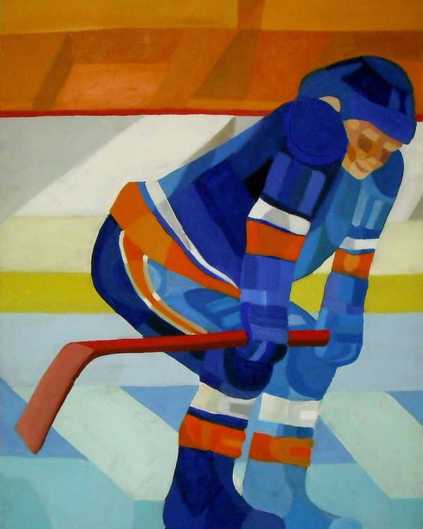 Hockey Poster featuring the painting Player 1 by Ken Yackel