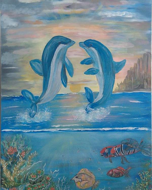 Original Poster featuring the painting Playful Dolphins by Mikki Alhart