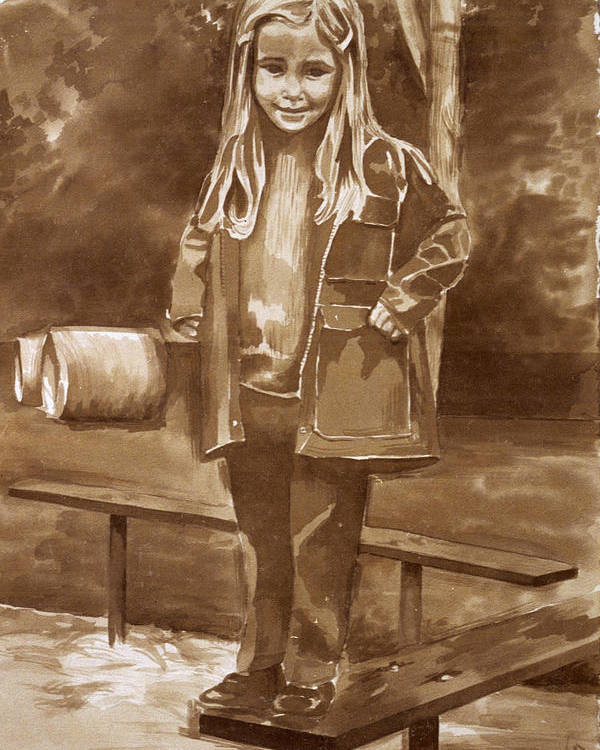 Little Girl On Bench In Park Poster featuring the painting Playground 2 by Judy Swerlick
