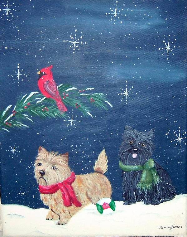 Cairn Terrier Poster featuring the painting Playin by Tammy Brown