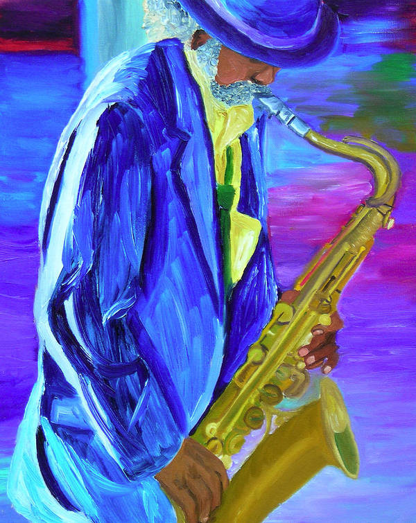 Street Musician Poster featuring the painting Playing The Blues by Michael Lee