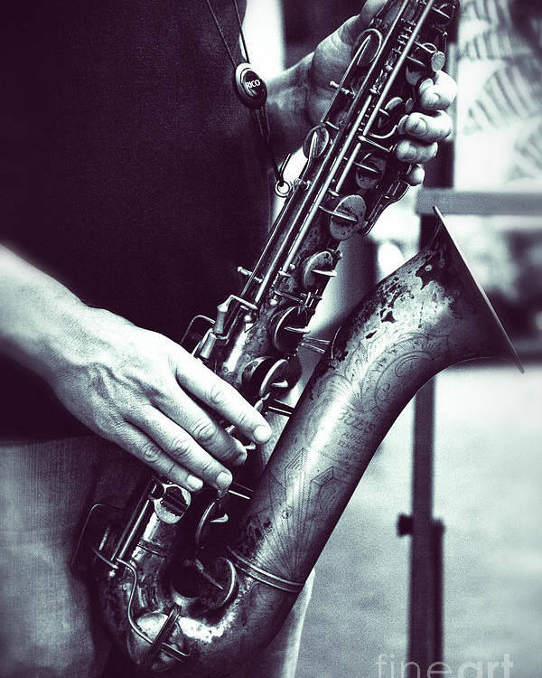Playing The Saxophone Fine Art Photograph Poster featuring the photograph Playing The Saxophone by Jerry Cowart