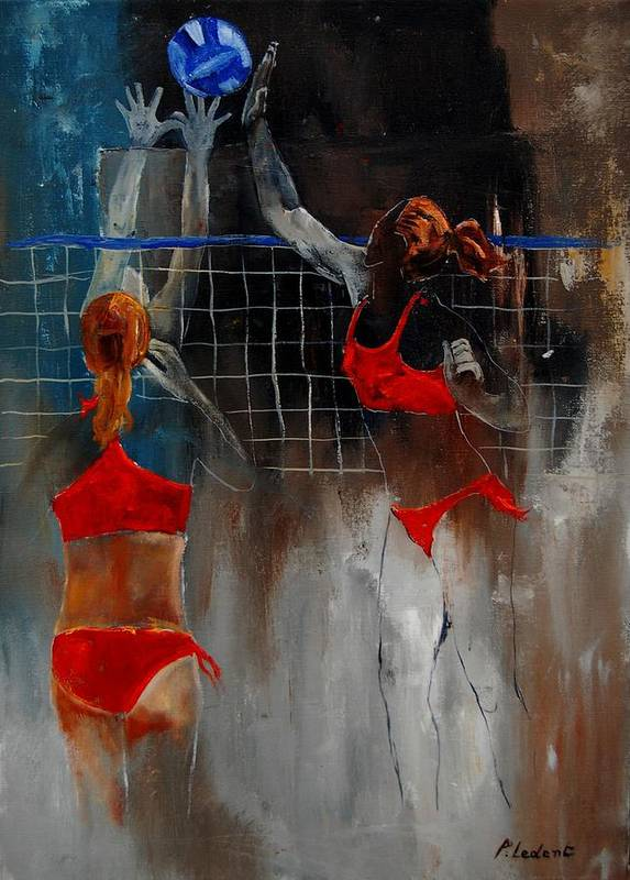 Sport Poster featuring the painting Playing Volley by Pol Ledent