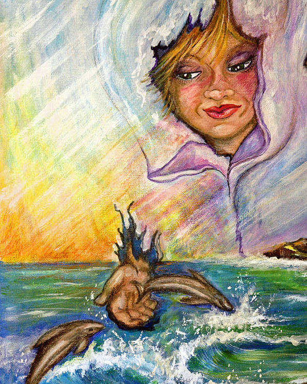 Playful Colorful Dolphin Played With By Young Person Poster featuring the painting Playing with the Dolphins by Mickie Boothroyd