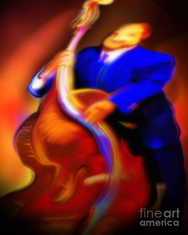 Jazz Art Poster featuring the painting Play'n Left by Mike Massengale