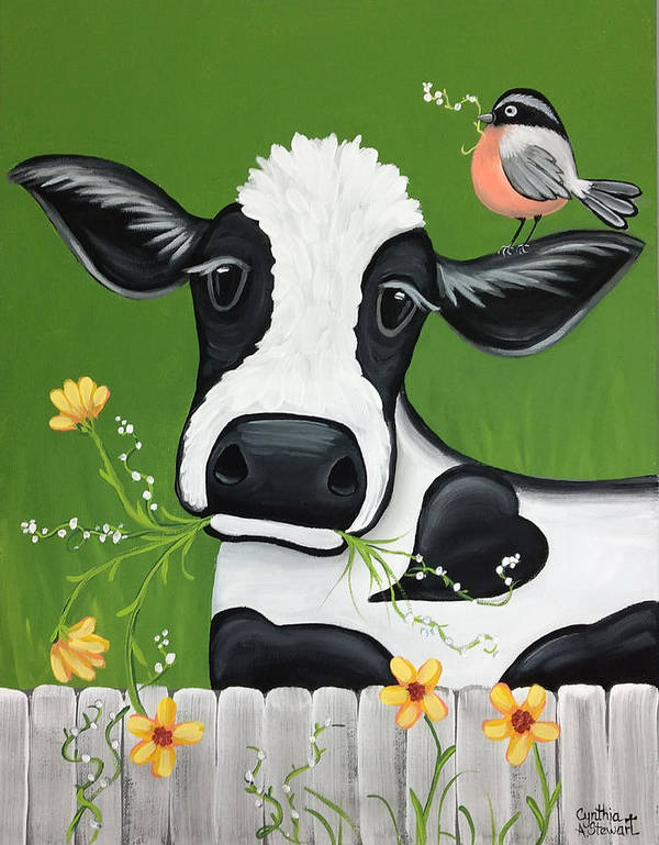 Cow Paintings Poster featuring the painting Please Don't Eat The Flowers by Cynthia Stewart