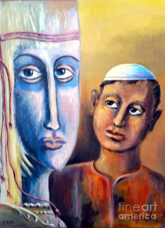 Fantasy Poster featuring the painting Please by Ushangi Kumelashvili