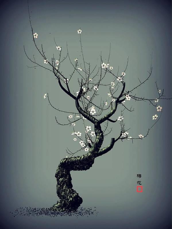 Plum Flower Poster featuring the digital art Plum Flower by GuoJun Pan