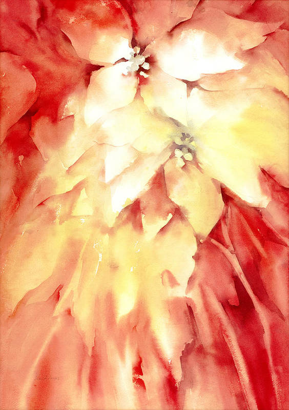 Poinsettias Poster featuring the painting Poinsettias by Joan Jones