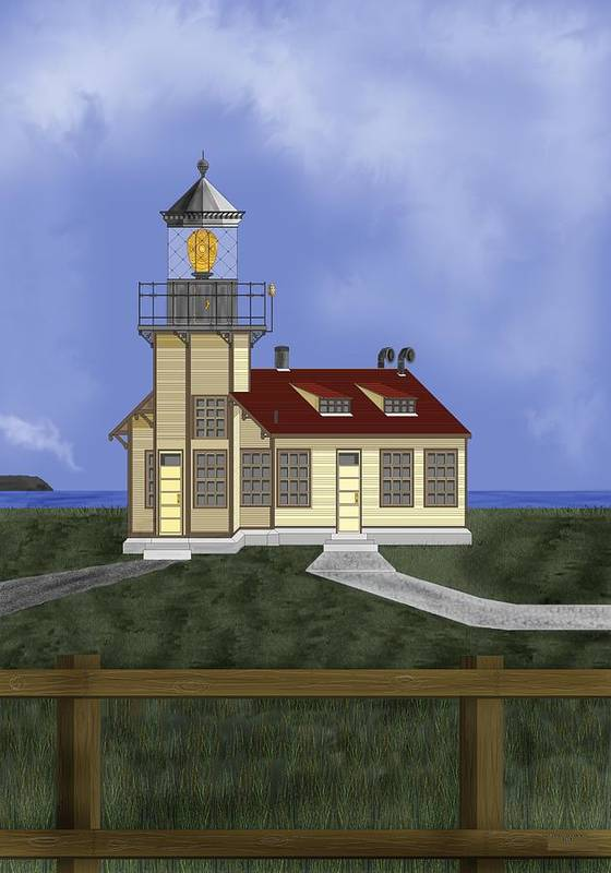 Lighthouse Poster featuring the painting Point Cabrillo California by Anne Norskog