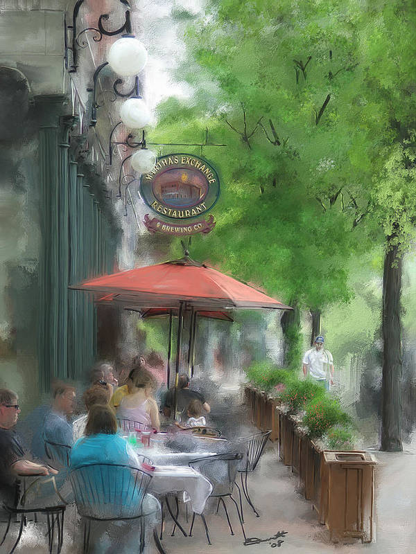 Summer Tea Painting Street Oil Envy Chairs Cafe Sunday Umbrella Poster featuring the painting Point Of View by Eddie Durrett