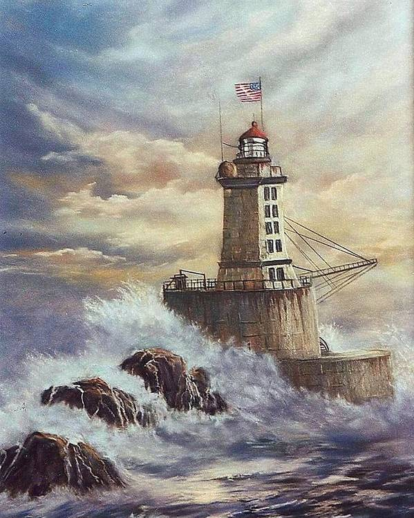 Lighthouse Poster featuring the painting Point St. George Reef Lighthouse by Lynne Parker