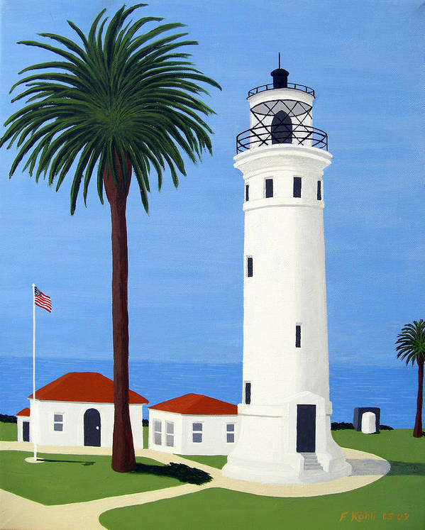Lighthouse Paintings Poster featuring the painting Point Vicente Lighthouse by Frederic Kohli