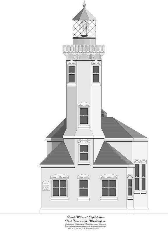 Lighthouse Poster featuring the painting Point Wilson Architectural Drawing by Anne Norskog