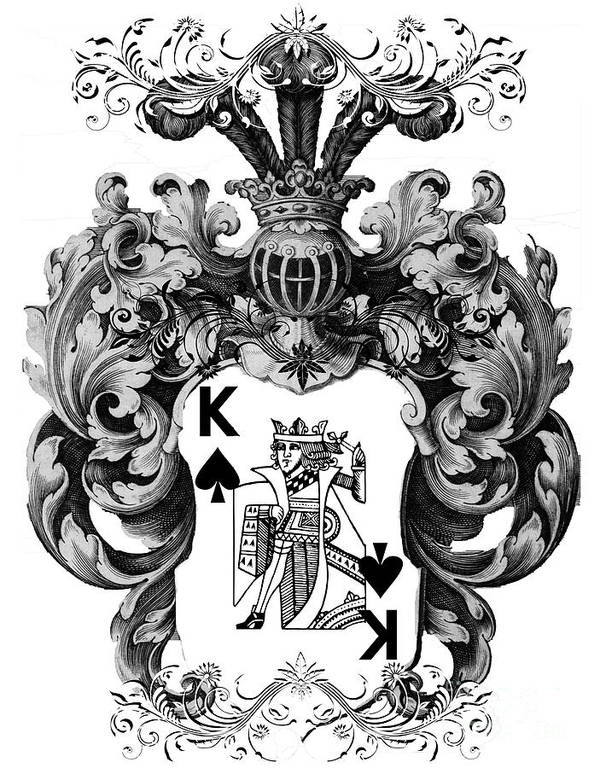 Poker King Spades Black And White Poster By Justyna Jbjart