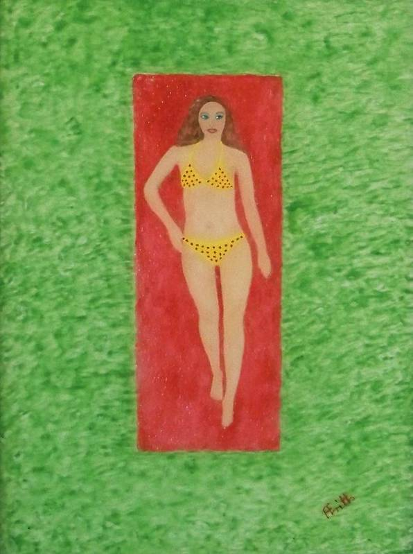 Corporate Art Poster featuring the painting Polka Dot Bikini by Anneliese Fritts