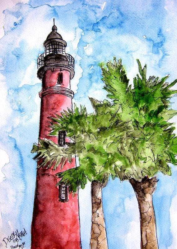 Ponce De Leon Poster featuring the painting Ponce De Leon Inlet Florida Lighthouse Art by Derek Mccrea