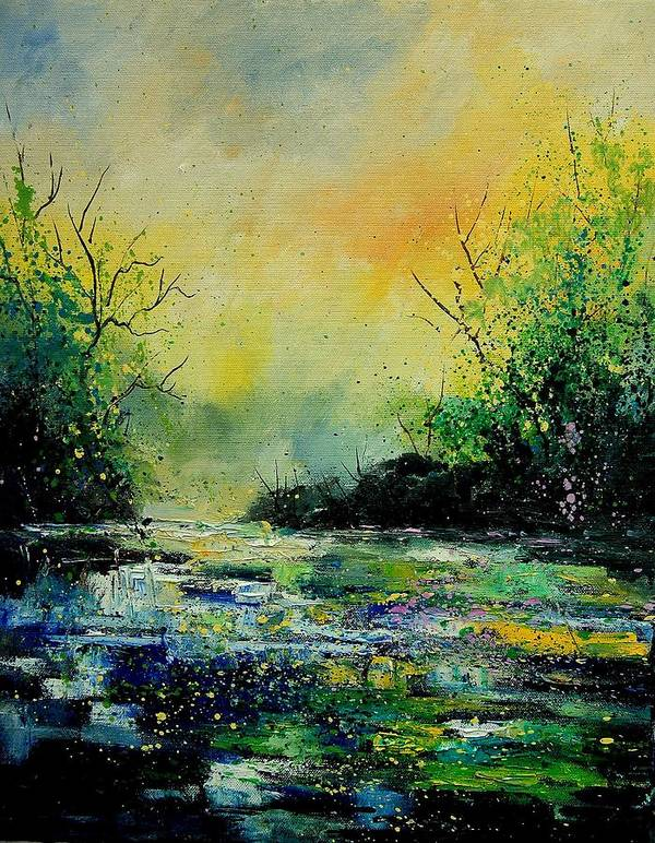 Water Poster featuring the painting Pond 459060 by Pol Ledent