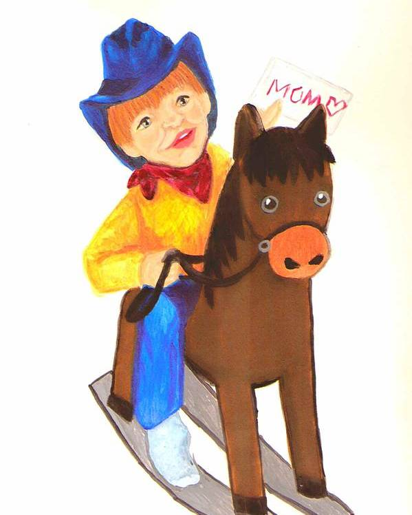 Cute Poster featuring the painting Pony Express by Jeanette Lindblad