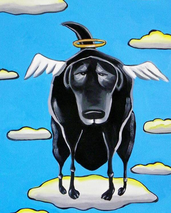 Dogs Poster featuring the painting Poo Dog Goes To Heaven by Rhondda Saunders