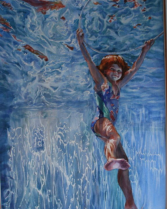 Figure Poster featuring the painting Pool Angel by Carolyn Epperly