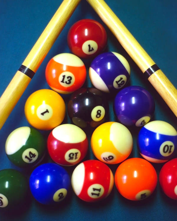 Pool Poster featuring the photograph Pool Balls And Cue Sticks by Steve Ohlsen