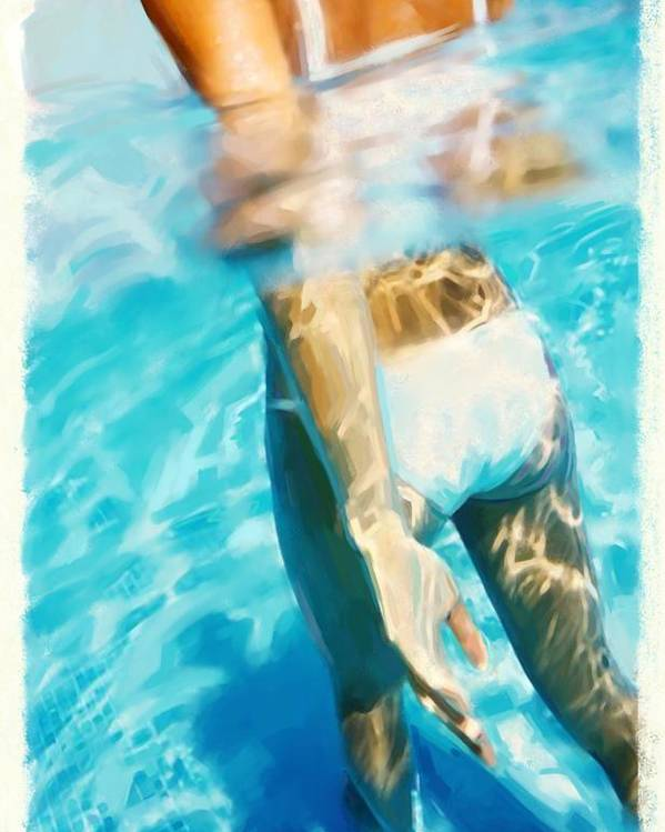 Summer Poster featuring the painting Pool Lady by Thomas Hansen