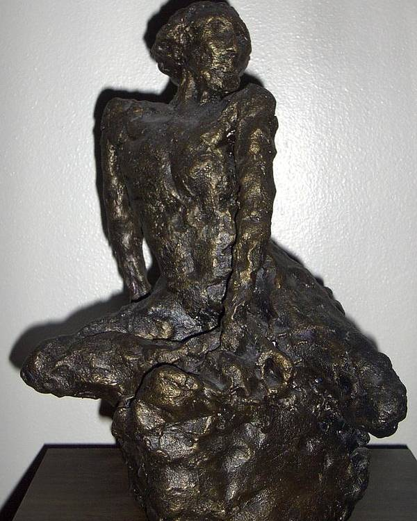 Figure Sculpture Seated Man Poster featuring the sculpture Poor Warrior by Sally Van Driest