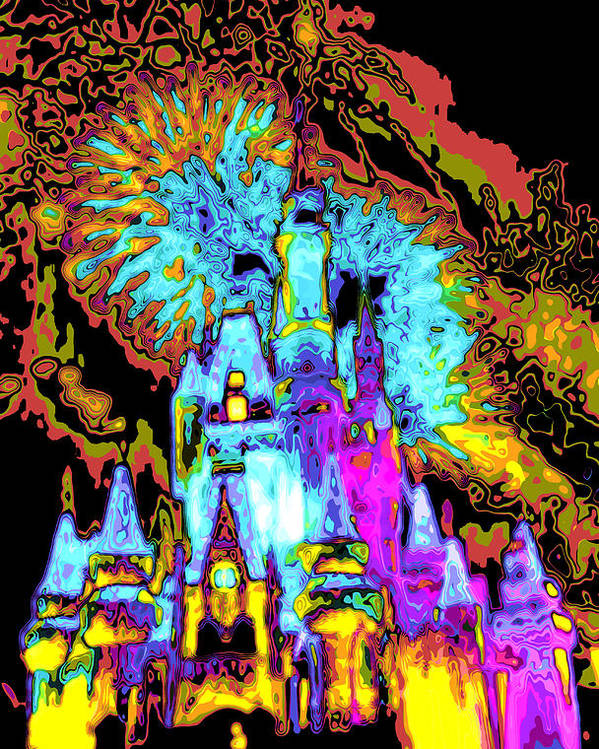 Cincerella Caste. Poster featuring the digital art Popart Castle by Charles Ridgway
