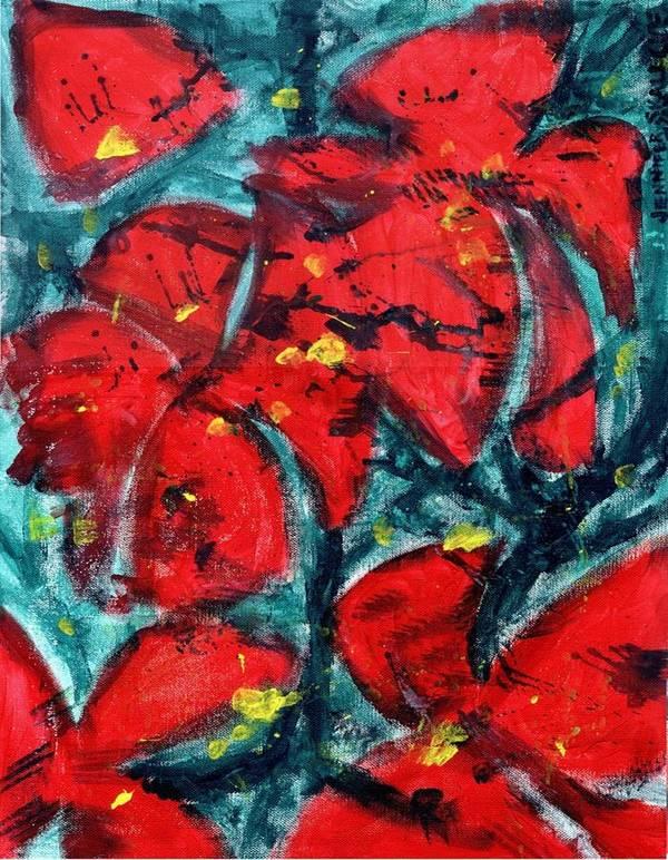 Flowers Poster featuring the painting Poppies - Www.jennifer-d-art.com by Jennifer Skalecke