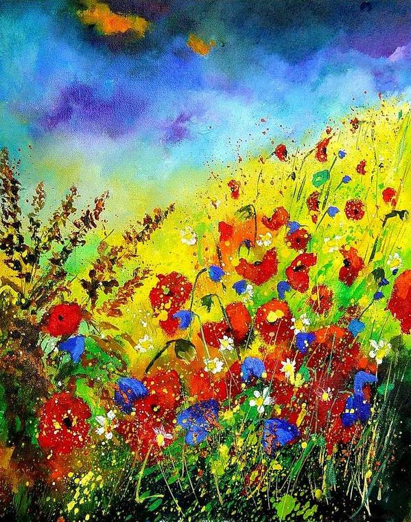 Poppies Poster featuring the print Poppies And Blue Bells by Pol Ledent