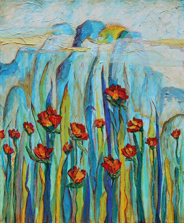 Poppies Poster featuring the mixed media Poppies And Mountains by Joselyn Holcombe