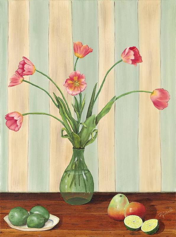 Still Life Poster featuring the painting Poppies And Pears by TJ Word