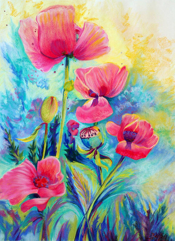 Floral Poster featuring the painting Poppies by Bente Hansen