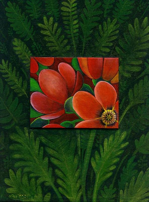 Poppy Poster featuring the painting Poppies by Helena Tiainen
