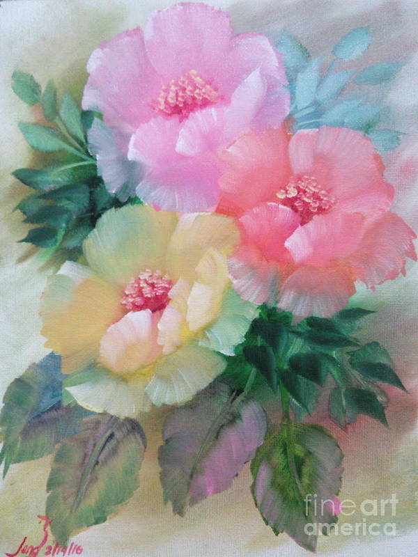 Poppies Poster featuring the painting Poppies In Pastel Colors by Jennilyn Villamer Vibar